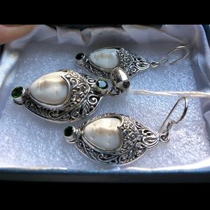 stamped Jewelry - Bali Goddess Russian Diopside Sterling Set